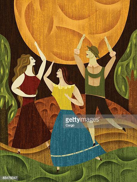 Three people dancing beneath the moon
