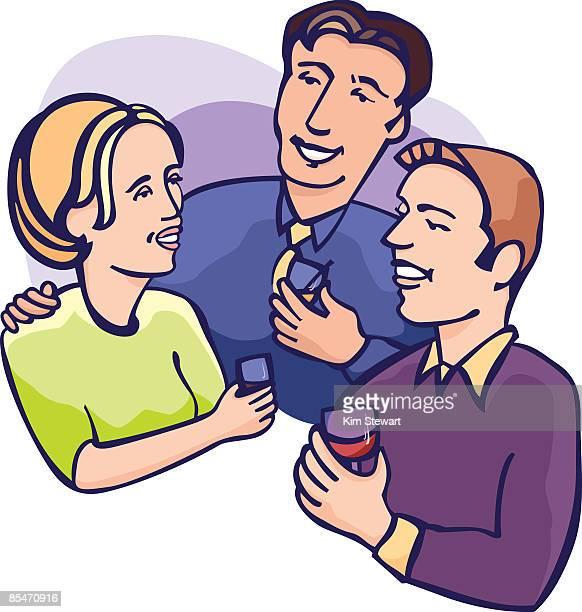 Three people having drinks
