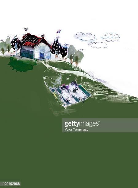 three people having picnic on hill - picnic blanket stock illustrations, clip art, cartoons, & icons