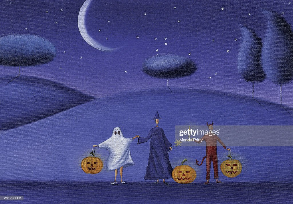 Three People Holding Hands Dresed in Halloween Costumes and Holding Pumpkins : Stock Illustration