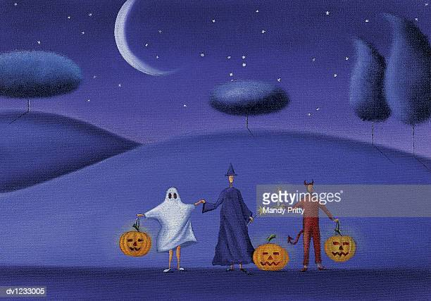 three people holding hands dresed in halloween costumes and holding pumpkins - mandy pritty stock illustrations