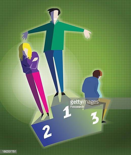 Three people on podium