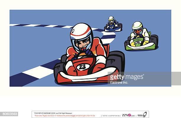 ilustraciones, imágenes clip art, dibujos animados e iconos de stock de three people participating in a go-carting race - piloto de coches de carrera