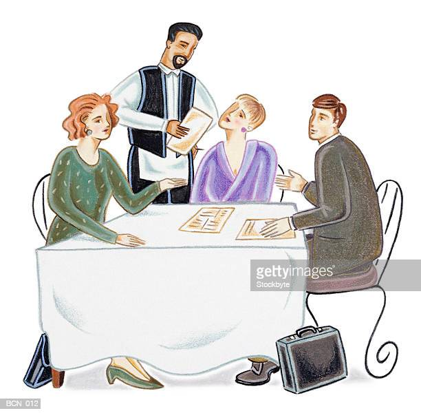 three people sitting at restaurant table, waiter taking order - social grace stock illustrations