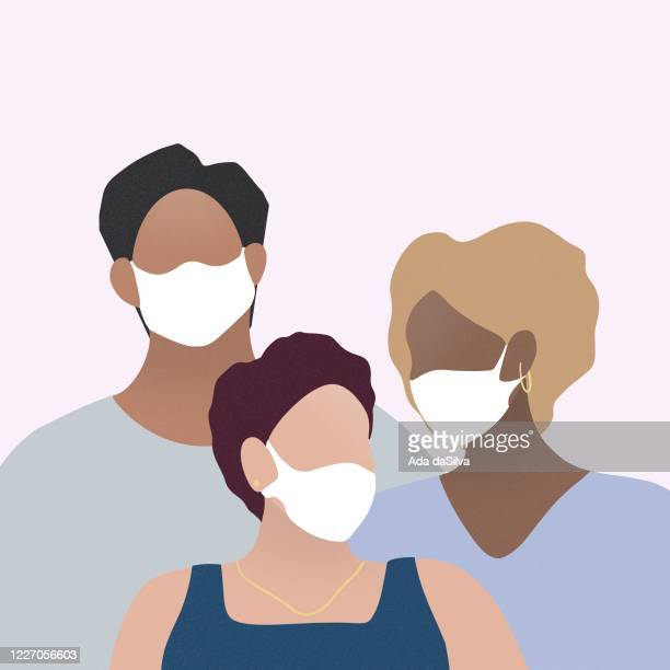 three people wearing surgical mask - illness prevention stock illustrations
