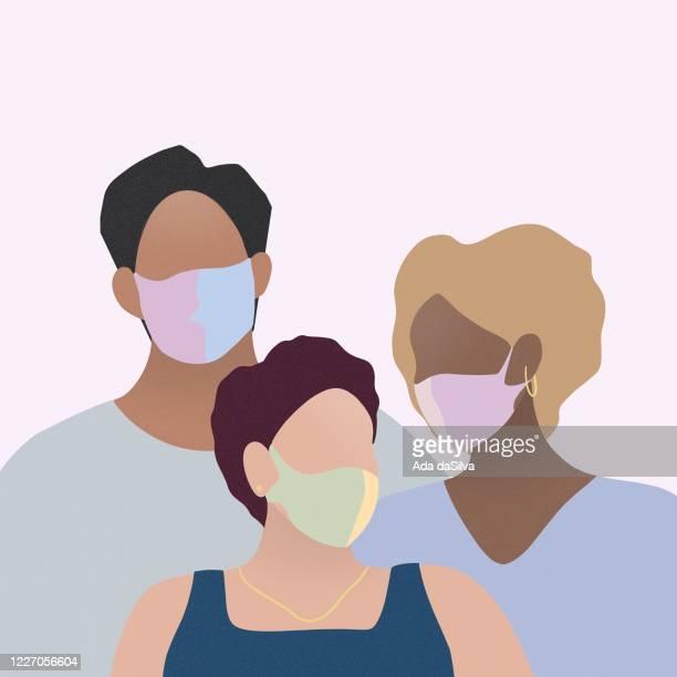 illustrazioni stock, clip art, cartoni animati e icone di tendenza di three people wearing surgical mask - alla moda