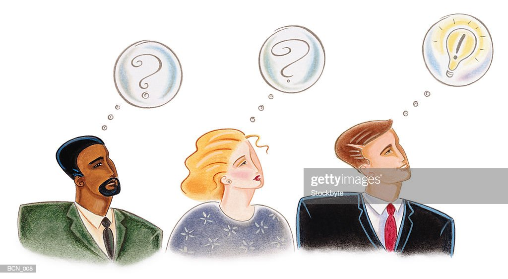 Three people with thought bubbles over head, one with idea : Stock Illustration