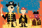 Three pirates over an abstract background