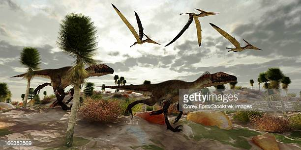 Three Pterosaur dinosaurs fly along and watch two Utahraptors as they hunt to share in the kill.