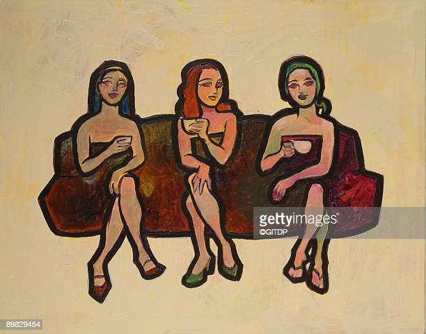 Three seated figures having coffee