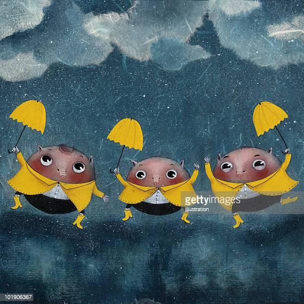 three small pigs - rain stock illustrations
