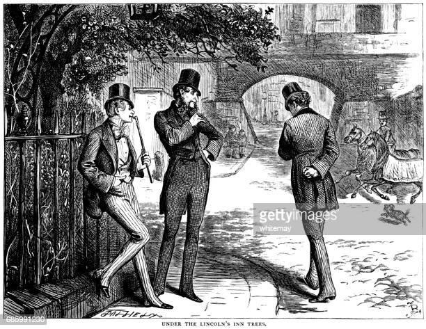 Three smartly dressed Victorian men talking in Lincoln's Inn Fields
