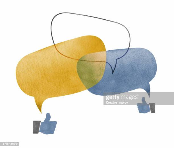 Three Speech Bubbles Overlapping with Thumbs Up