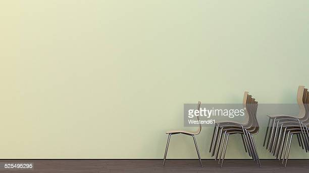 Three stacks of chairs on oak wooden floor in front of a wall, 3D Rendering