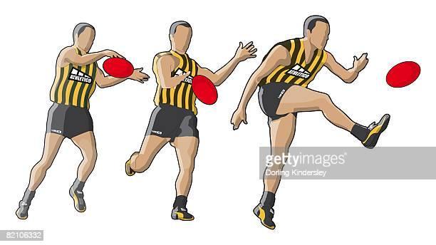 three stages of australian football player kicking ball, drop punting - australian rules football stock-grafiken, -clipart, -cartoons und -symbole