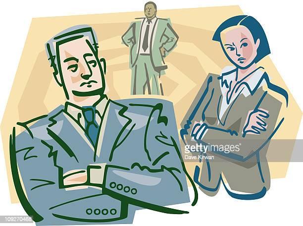 Three stern business people