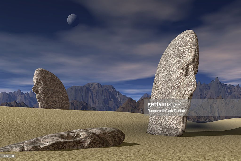 three stone faces lay scattered across a desert mountain landscape : stock illustration