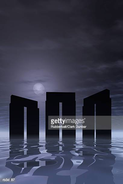 three stonehenge pillar groups silhouette a darkened background - megalith stock illustrations, clip art, cartoons, & icons