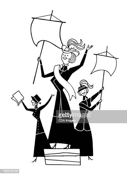 three suffragettes - suffragist stock illustrations