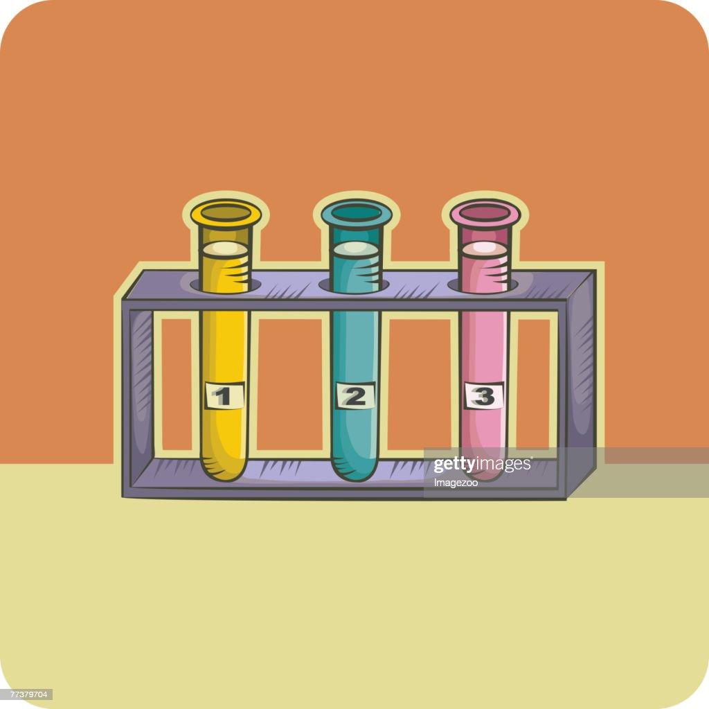three test tubes : Illustration