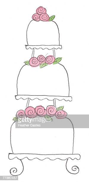 three tier wedding cake with pink roses - dessert topping stock illustrations, clip art, cartoons, & icons