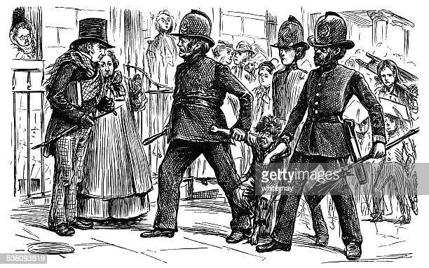 three victorian policemen holding a struggling boy in the street - arrest stock illustrations, clip art, cartoons, & icons