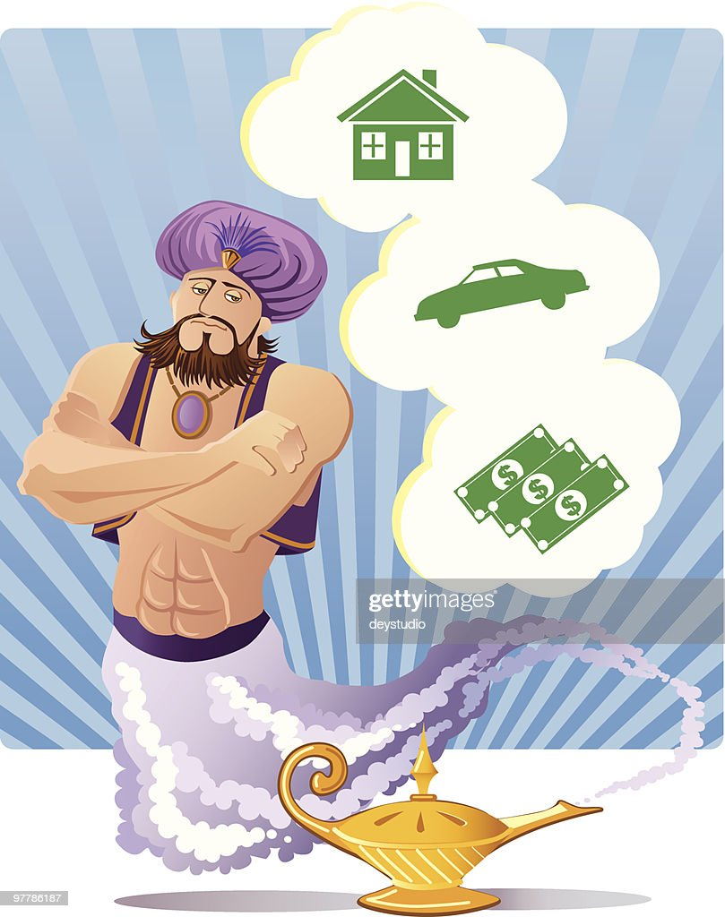 Three Wishes Magic Genie stock illustration - Getty Images