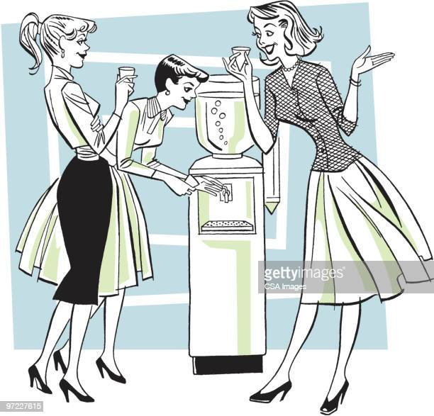 three women at a water cooler - friendship stock illustrations