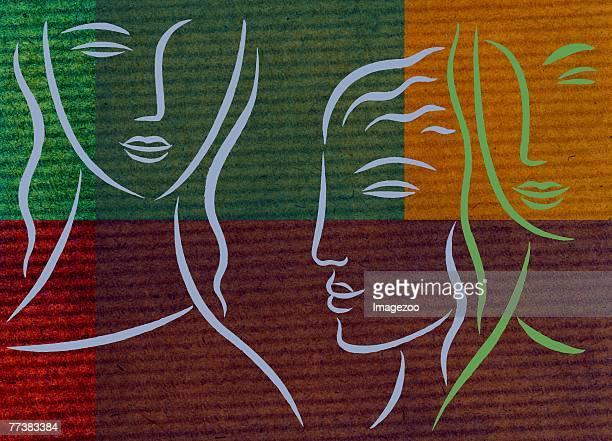 three women - fokusgruppe stock-grafiken, -clipart, -cartoons und -symbole