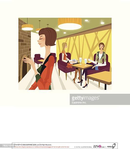 ilustrações de stock, clip art, desenhos animados e ícones de three women in a restaurant - cabelo de comprimento médio