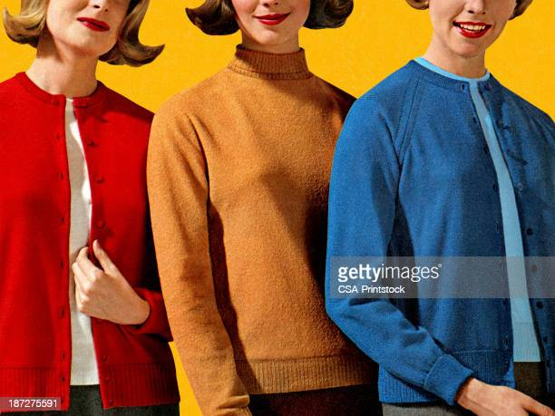 three women in different color sweaters - three people stock illustrations