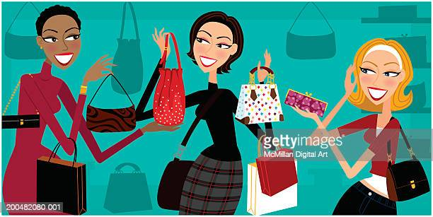 Three women looking at purses in retail store, smiling