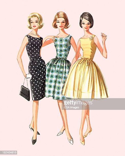 Three Women Modeling Dresses
