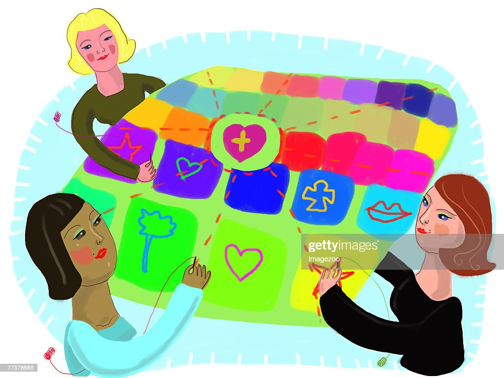 three women putting together a quilt : Illustration