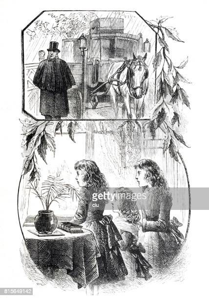 Three women standing at the window looking out to the horse drawn carriage