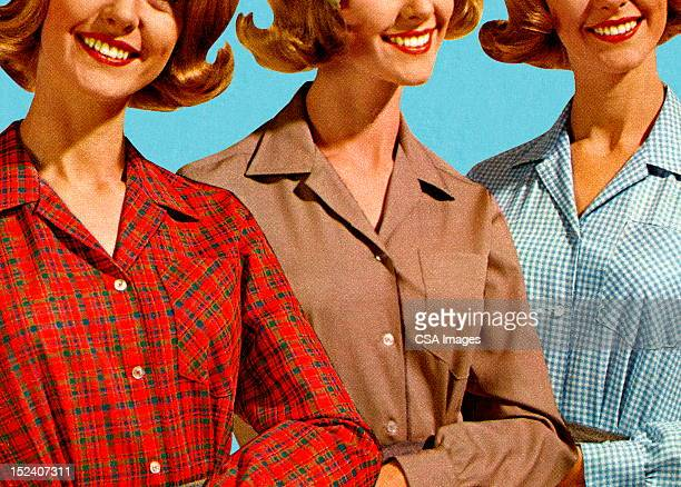 Three Women Wearing Different Blouses