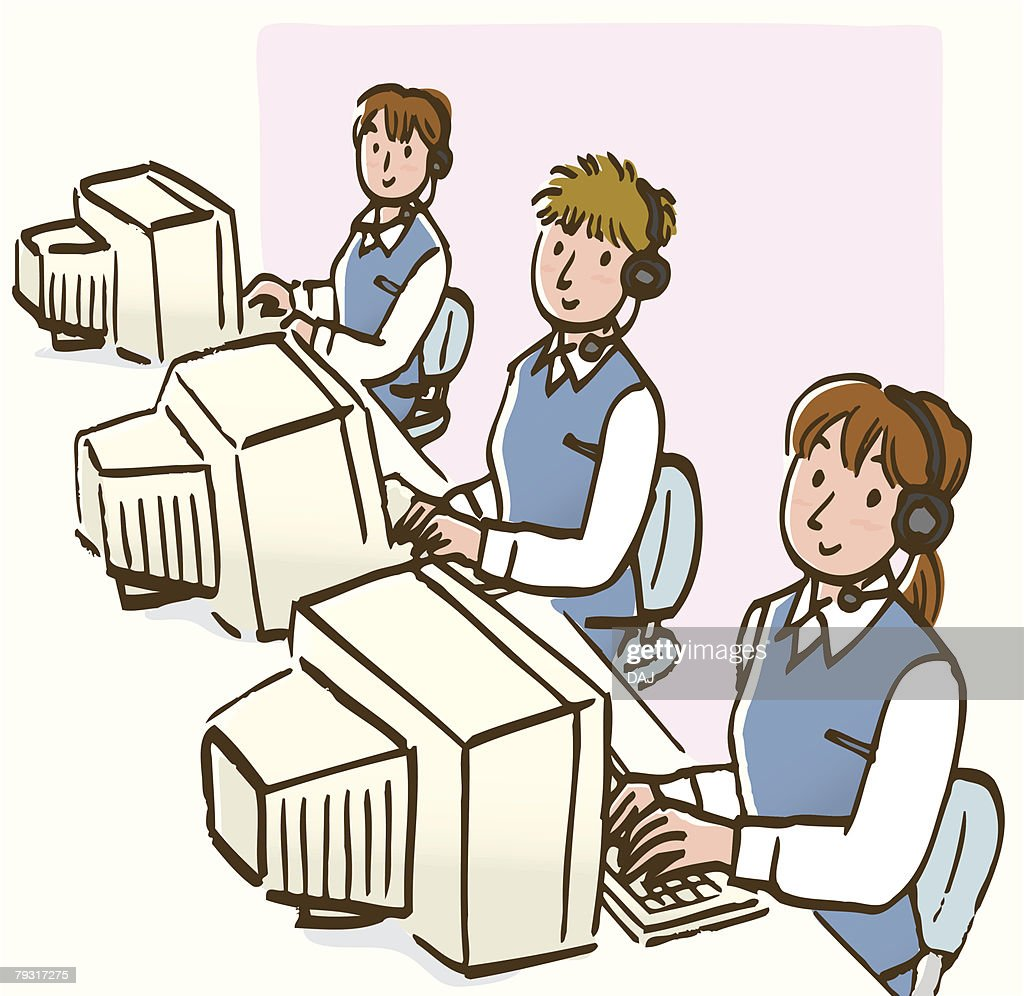 Three women wearing headset, using computer, high angle view : Ilustración de stock