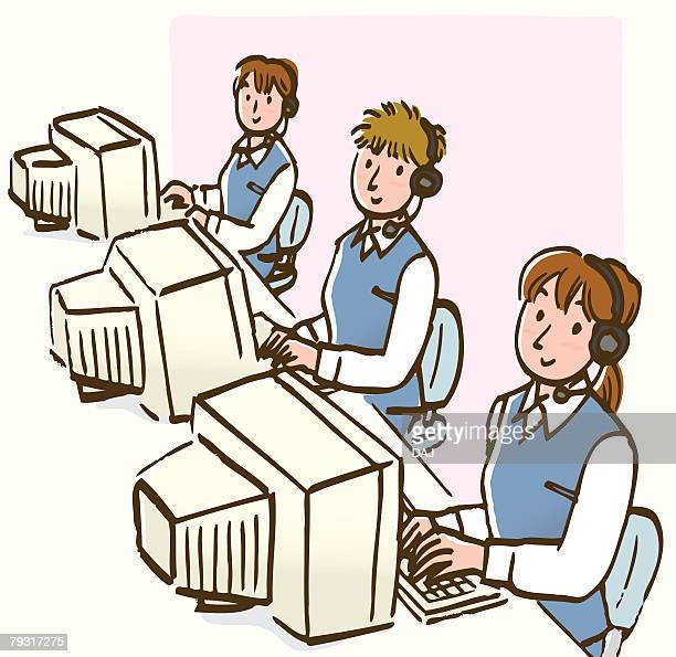 three women wearing headset, using computer, high angle view - school uniform stock illustrations, clip art, cartoons, & icons