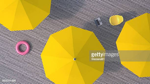 Three yellow sunshades, chair, floating tire and a laptop on wooden terrace, 3D Rendering