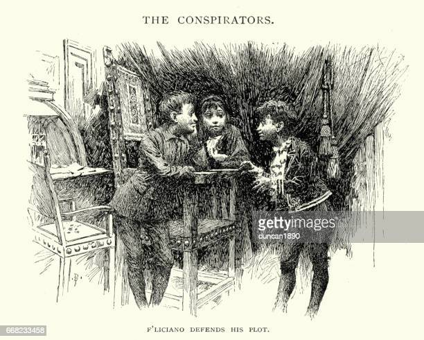 three young boys plotting mischief, 19th century - naughty america stock illustrations, clip art, cartoons, & icons