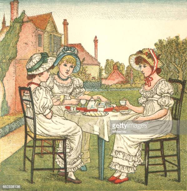 Three young Regency style ladies taking tea in a garden