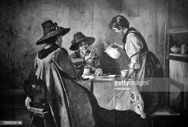 Three young women during a conversation over coffee and cake - 1895
