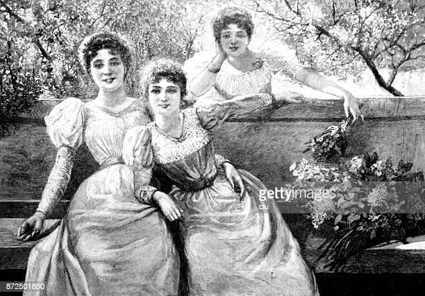 楽しんでベンチに 3 人の若い女性 - 1890~1899年点のイラスト素材/クリップアート素材/マンガ素材/アイコン素材