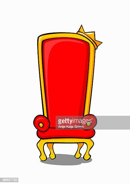 a throne with a crown - throne stock illustrations
