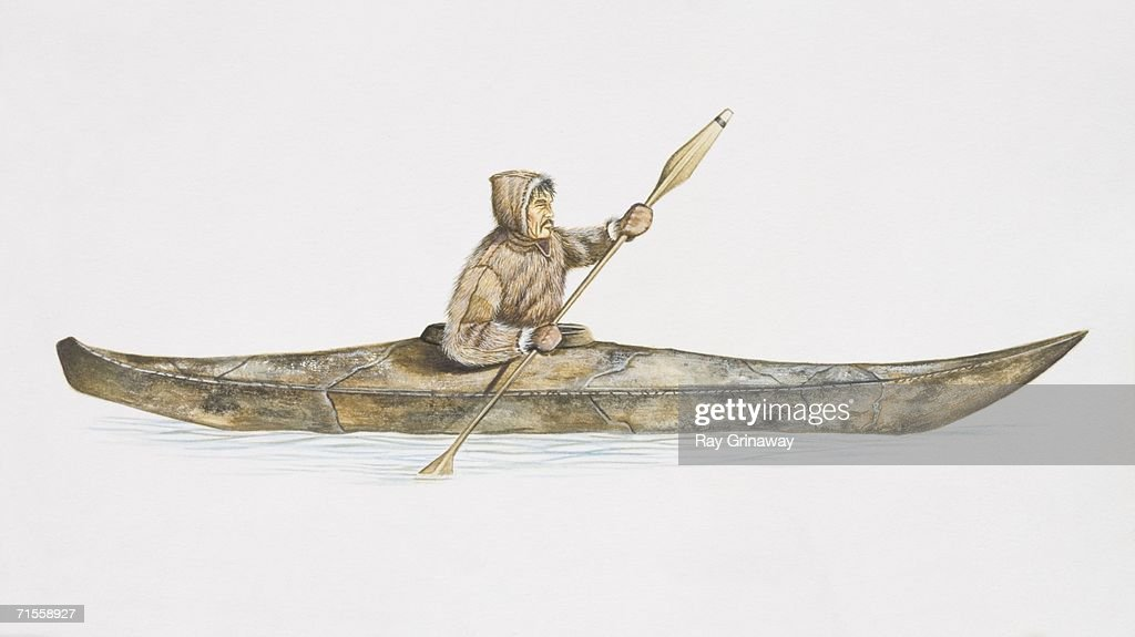 A Thule Man Rowing Canoe Side View Stock Illustration
