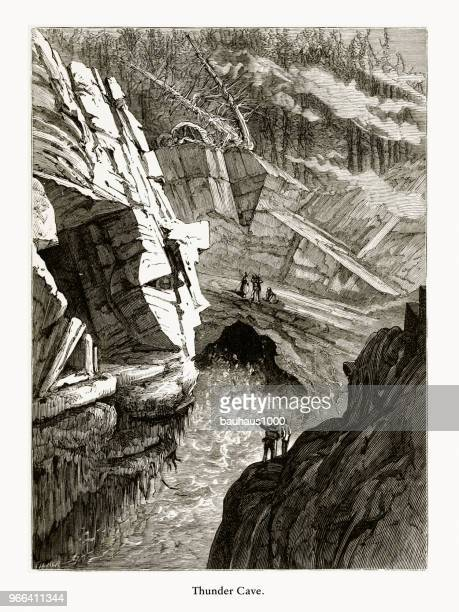 thunder cave, frenchman's bay, maine, united states, american victorian engraving, 1872 - hancock county stock illustrations, clip art, cartoons, & icons
