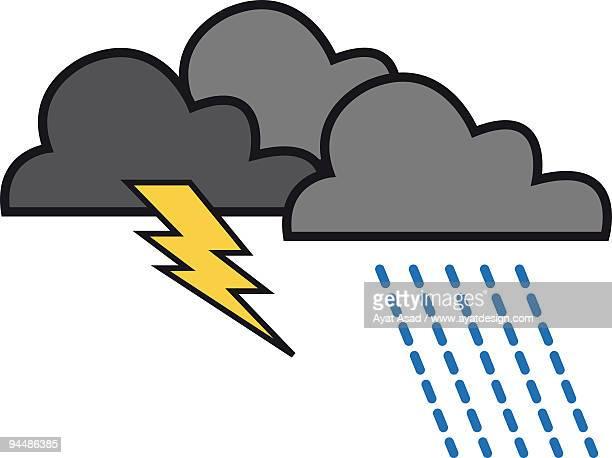 thunder clouds on a rainy day - rain stock illustrations