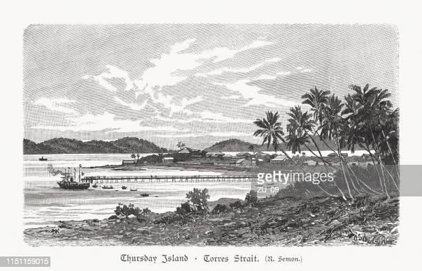 thursday island, torres strait islands, australia, wood engraving, published 1897 - thursday stock illustrations