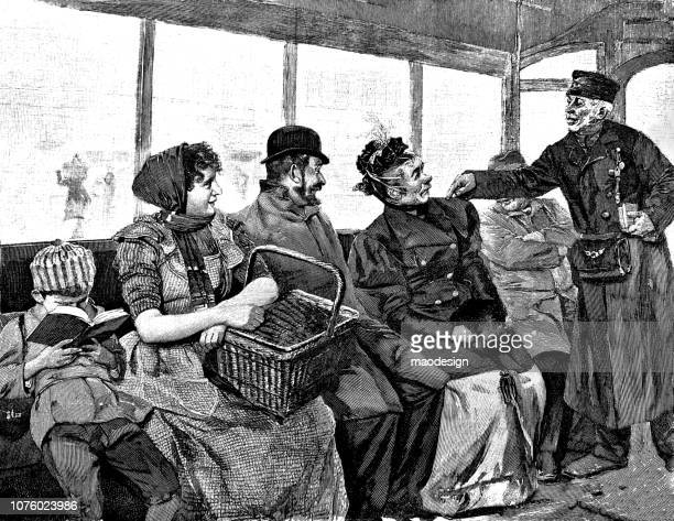 ticket control on the tram - 1896 - runaway vehicle stock illustrations, clip art, cartoons, & icons