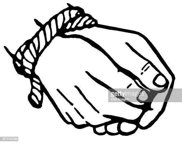 tied hands - tied up stock illustrations